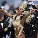 A reveller parades for Vai Vai samba school during Carnival in Sao Paulo