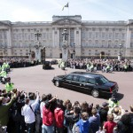 The limousine of U.S. President Barack Obama and first lady Michelle Obama arrives at Buckingham Palace in London
