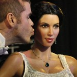 Hilton kisses the wax figure of television personality Kim Kardashian after it was unveiled at Madame Tussauds museum in Hollywood