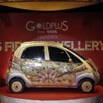 A 'Nano' car made of gold is pictured during a ceremony in Mumbai