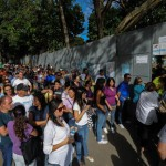 People queue at a polling station in Caracas on February 12, 2012. Venezuelan opposition parties are voting across the country in their first primary to pick a unity candidate to battle ailing President Hugo Chavez, in power for more than a decade, in an October vote. AFP PHOTO/Leo RAMIREZ