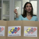Independent right wing presidential candidate Maria Corina Machado casts her vote at a polling station in Caracas