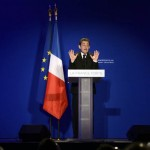France's incumbent President and UMP ruling party's candidate for the 2012 presidential election, Nicolas Sarkozy gestures as he speaks during a campaing meeting on April 19, 2012 in the French city of Saint-Maurice outside Paris. AFP PHOTO / ERIC FEFERBERG