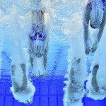Britain performs during the Teams Technical Routine during a synchronised swimming qualification event in London
