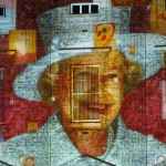 Self portraits by 200,000 children are projected onto Buckingham Palace to form portraits of Queen Elizabeth in central London