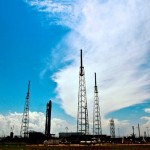 TITUSVILLE, FL - MAY 18: SpaceX rocket Falcon 9 sits on Pad 40 of the Cape Canaveral Air Force Station in Titusville, Florida. The launch Saturday morning launch would make SpaceX the first commercial company to send a spacecraft to the International Space Station.   Roberto Gonzalez/Getty Images/AFP