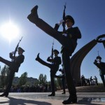 Kyrgyz honour guards march near the Eternal Flame monument during Victory Day celebrations in Bishkek on May 9, 2012. Russia and ex-Soviet republics marked today the 67 years since the Soviet victory over Nazi Germany in World War II. AFP PHOTO / VYACHESLAV OSELEDKO