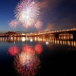 Fireworks explode above the Yenisei River as part of the Victory Day celebration in Krasnoyarsk