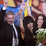 Loreen of Sweden holds the trophy as she celebrates with her team members after winning the Eurovision song contest in Baku