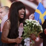 Loreen of Sweden holds the trophy and flowers after winning the Eurovision song contest in Baku
