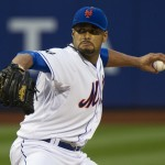 New York Mets' Santana throws a pitch to St. Louis Cardinals in their MLB game in New York