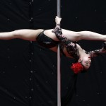 Contestant Zhu Wen competes during the 2nd China Pole Dance semi-final in Tianjin municipality