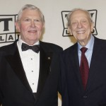 Actors Andy Griffith and Don Knotts pose backstage after accepting the Legend Award for their series