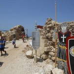 Children leave a Crusader fortress near Herzliya