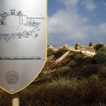 Illustration showing the reconstruction of a Crusader fortress is seen on a board near Herzliya