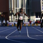 Justin Warner wins the men's 100m final at the Toronto International Track & Field Games in Toronto
