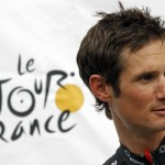 File photo of RadioShack-Nissan rider Schleck posing on the podium ahead of the 99th Tour de France cycling race in Liege