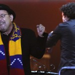 Panamanian singer Blades and Venezuelan conductor Dudamel perform during a concert in Caracas