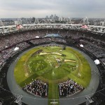 Picture shows the general view of the Olympic Stadium before the opening ceremony of the London 2012 Olympic Games