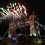Fireworks are launched over Tower Bridge during the opening ceremony of the London 2012 Olympic Games