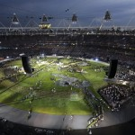 Performers take part in a pre-show at the Olympic Stadium before the opening ceremony of the London 2012 Olympic Games