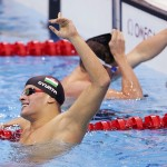 Hungary's Daniel Gyurta celebrates winning the men's 200m breaststroke final with a world record during the London 2012 Olympic Games at the Aquatics Centre