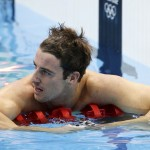 Australia's James Magnussen reacts after he placed second in the men's 100m freestyle final during the London 2012 Olympic Games at the Aquatics Centre