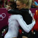 Sandra Raluca Izbasa of Romania hugs McKayla Maroney of the U.S. after the women's gymnastics vault final in the North Greenwich Arena