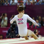 McKayla Maroney of the U.S. falls from the vault in the women's gymnastics vault final in the North Greenwich Arena