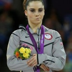 McKayla Maroney of the U.S. celebrates with her silver medal in the women's vault victory ceremony during the London 2012 Olympic Games