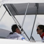 Catherine, Duchess of Cambridge, attends the medal races of the men's Laser and women's Laser Radial sailing class at the London 2012 Olympic Games in Weymouth and Portland