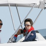 Catherine, Duchess of Cambridge and Princess Anne attend the medal races of the men's Laser and women's Laser Radial sailing class at the London 2012 Olympic Games in Weymouth and Portland