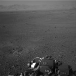 The Martian horizon is seen by a camera onboard NASA's Mars rover Curiosity in this NASA handout