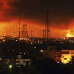 Fire is seen after an explosion at Amuay oil refinery in Punto Fijo, in the Peninsula of Paraguana