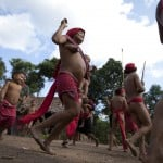 Yanomami Indians dance at the community of Irotatheri