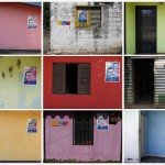 Combo photo of houses with campaign posters of Venezuelan President Hugo Chavez in Los Rastrojos, Barinas