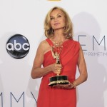 Jessica Lange poses with her award for outstanding supporting actress in a miniseries or movie backstage at the 64th Primetime Emmy Awards in Los Angeles