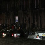 Flood waters brought on by Hurrican Sandy over run a car in New York's lower east side