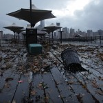 Debris litters the floor of Exchange Place in New Jersey