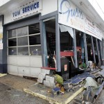 Damaged front of an auto repair shop is seen in the aftermath of Hurricane Sandy's landfall in Atlantic City