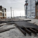 A man walks out of his home on Pacific Avenue in the aftermath of Hurricane Sandy's landfall in Atlantic City