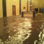 Handout of the lobby of Verizon's Corporate headquarters in Manhattan is shown underwater October 29, 2012