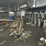 Handout of debris litters the entrance inside the South Ferry subway station after it was flooded by seawater in the aftermath of Hurricane Sandy in New York October