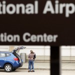 A couple say goodbye at Ronald Reagan Washington National Airport in Arlington