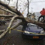 An unidentified pedestrian strikes a pose as fallen trees lie across parked cars in the borough Queens, New York