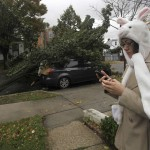 An unidentified pedestrian checks her cellular phone across the street from a fallen tree lying on the roof of a parked car in the borough of Queens, New York