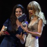 U.S. singer Del Rey presents singer Swift with 'Best Female' trophy during MTV European Music Awards 2012 in Frankfurt
