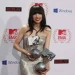 Canadian singer Carly Rae Jepsen poses with her Best Song and Best Push awards backstage at the MTV European Music Awards 2012 show at the Festhalle in Frankfurt