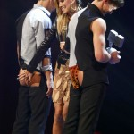 German model and host Klum appears on stage during MTV European Music Awards 2012 in Frankfurt