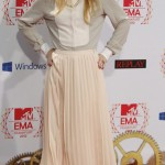 German singer Lena poses barefoot on the red carpet for the MTV European Music Awards 2012 at the Festhalle in Frankfurt